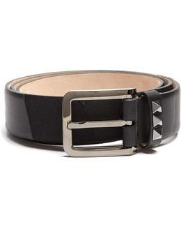 Rockstud Camouflage Canvas And Leather Belt