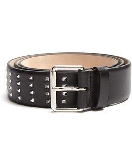 Rockstud Grained-leather Belt
