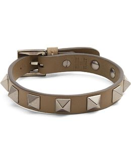Rockstud-embellished Leather Bracelet