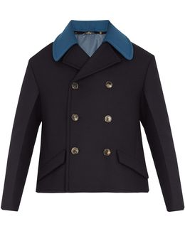 Detachable-collar Double-breasted Wool Pea Coat
