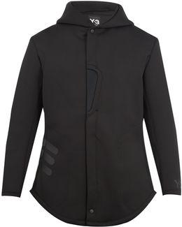 Mesh-panel Zip-through Hooded Neoprene Jacket