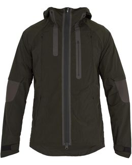 Contrast-panel Nylon Hooded Jacket