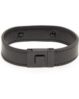 Logo-engraved Leather Bracelet