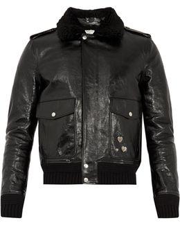 Shearling-collar Leather Biker Jacket