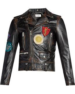 Badge-appliqué Leather Biker Jacket