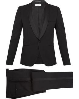 Shawl-collar Satin-trimmed Wool Tuxedo