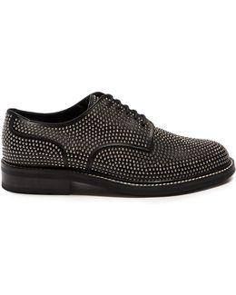 Stud-embellished Leather Derby Shoes