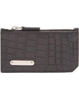 Crocodile-effect Leather Cardholder