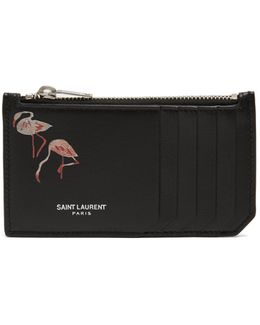 Flamingo-print Leather Cardholder