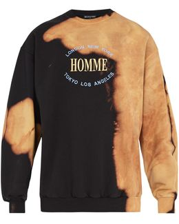 Homme-embroidered Bleached Cotton Sweatshirt