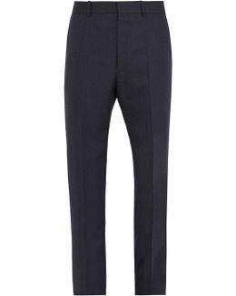 Straight-leg Striped Herringbone Wool Trousers