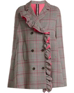 Asymmetric-ruffle Prince Of Wales-checked Cape