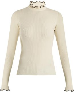 Frilled-neck Wool-blend Sweater