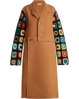 Crochet-sleeve Wool-blend Coat