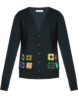 Crochet-pocket Wool Cardigan