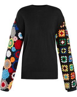 Crochet-sleeve Wool Sweater