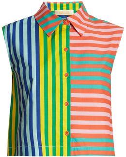 Striped Stretch-cotton Top