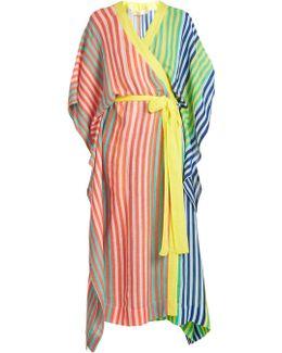 Striped Linen-blend Wrap Kaftan