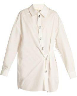 Oversized Wrap-effect Cotton-blend Shirt