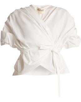 Gathered Cotton Wraparound Top