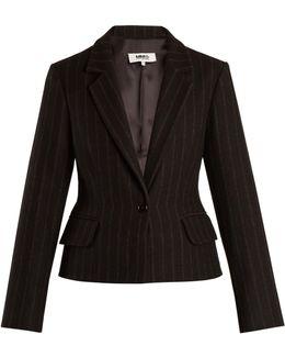 Detachable-hem Striped Wool-blend Coat