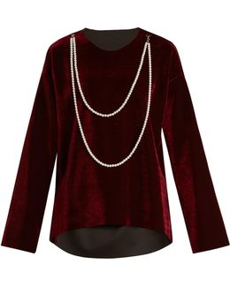 Faux Pearl-embellished Tie-waist Velvet Top