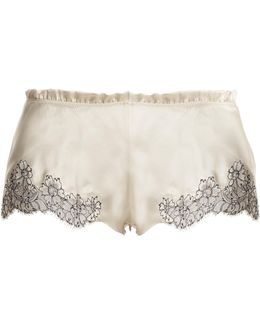 Lace-trimmed Silk-satin Pyjama Shorts