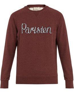Parisien-embroidered Cotton-jersey Sweatshirt