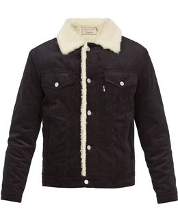 Slim-fit Faux Shearling-trimmed Cotton-corduroy Jacket