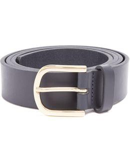 Logo-debossed Leather Belt