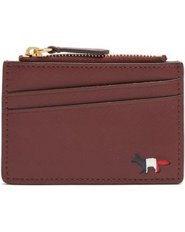 Zip-fastening Grained-leather Cardholder