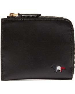 Cut-out Logo Zip-around Leather Wallet