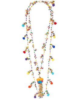 Cancun Multi-stone And Pompom Necklace