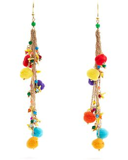 Cancun Multi-stone And Pompom Earrings