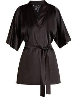 Nocturnal Lace-insert Silk-blend Kimono