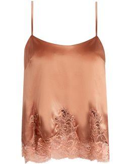 Whiskey Lace-hem Silk-blend Cami Top