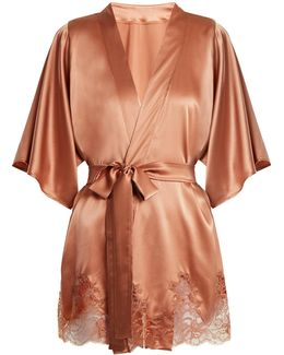 Whiskey Lace-hem Silk-blend Kimono