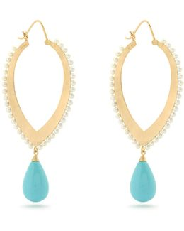 Turquoise, Pearl & Yellow-gold Earrings