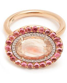 Diamond, Sunstone, Tourmaline & Rose-gold Ring