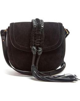 Ghianda Braided-leather Suede Cross-body Bag
