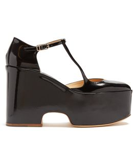 Cady Leather Mary-jane Flatform Shoes