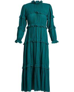 Yukio Ruffle-trimmed Tiered Cotton Dress