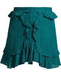 Yugi Frilled-hem Cotton Mini Skirt