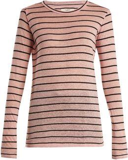 Aaron Striped Linen-blend T-shirt