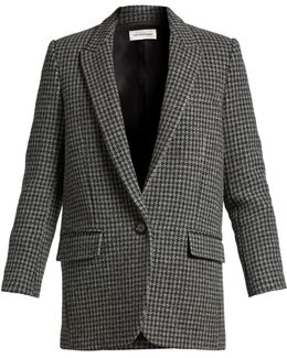 Ice Hound's-tooth Wool-blend Jacket