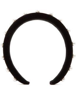 Faux-pearl Embellished Velvet Headband