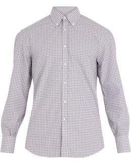 Regular-fit Single-cuff Checked Cotton Shirt