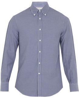 Button-down Collar Micro-checked Cotton Shirt