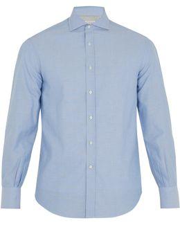 Spread-collar Single-cuff Oxford-cotton Shirt