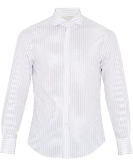 French-collar Striped-cotton Shirt